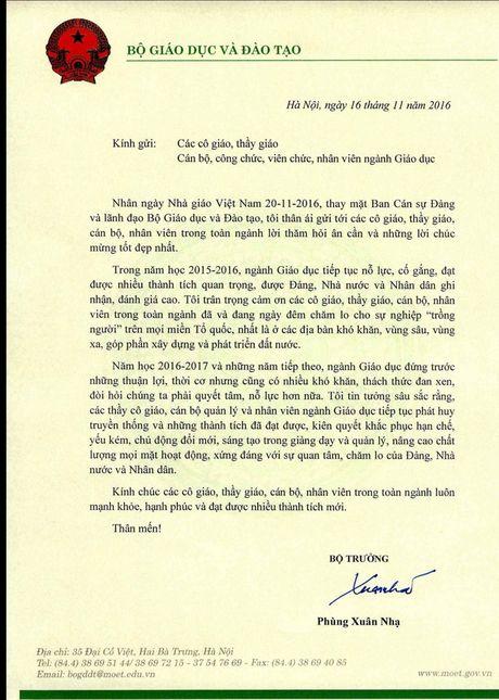 Bo truong Bo GD&DT gui thu chuc mung ngay Nha giao Viet Nam - Anh 1