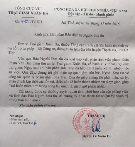 Trai giam Xuan Ha ghi nhan va tiep thu vu thu an o lo gach - Anh 1