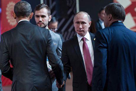 Putin va Obama khong nhin nhau khi bat tay - Anh 1