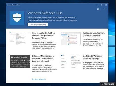 """Microsoft ra mat ung dung """"gay tranh cai"""" Windows Defender Hub cho Windows 10 - Anh 1"""