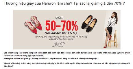 Soc vi thong bao doi luong tren website thuong hieu giay Hari Won sang lap - Anh 3