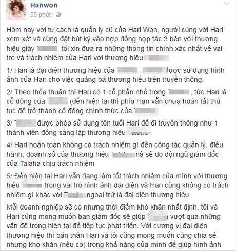 Hari Won len tieng khi bi to thuong hieu giay do co sang lap no luong - Anh 3