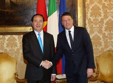 Chu tich nuoc Tran Dai Quang hoi kien Thu tuong Italy Matteo Renzi - Anh 1