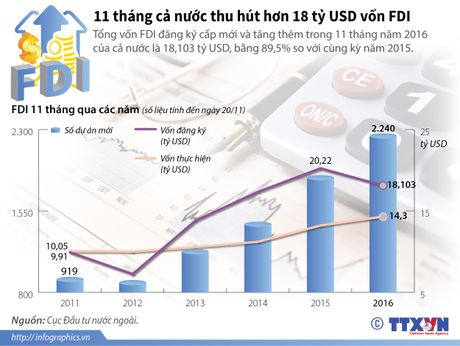 11 thang ca nuoc thu hut hon 18 ty USD von FDI - Anh 1