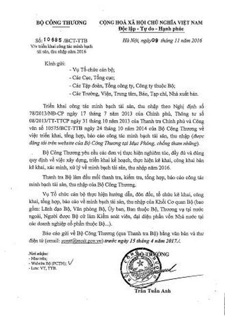 Bo Cong thuong yeu cau cong khai thu nhap lanh dao - Anh 1