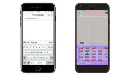 Anh chup man hinh iPhone 7 Plus bi bien dang khi gui den Google Pixel - Anh 1