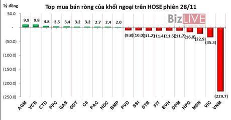 Phien 28/11: Xa hang dong loat ca co phieu bluechips lan co phieu dau co - Anh 1