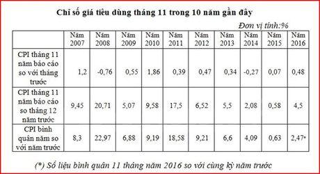 Kinh te vi mo on dinh, CPI ca nuoc trong thang 11 tang 0,48% - Anh 2