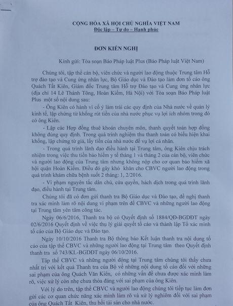 Giam doc Trung tam Ho tro dao tao va Cung ung nhan luc 'ne' tra loi vu bi can bo nhan vien to cao - Anh 1