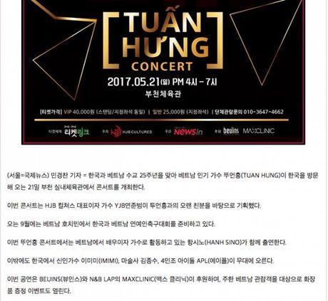 Bao Han bat ngo dua tin ve liveshow dau tien cua Tuan Hung tai Seoul - Anh 2