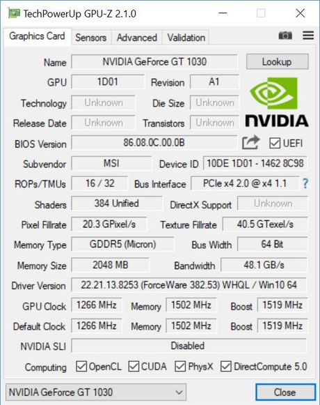 Can canh bo doi card do hoa MSI GeForce GT 1030 - Anh 1