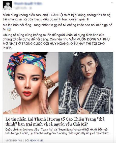 Cao Thien Trang len tieng 'to nguoc' Lai Thanh Huong dua hoi de noi tieng - Anh 1