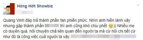 Dung tuong Quang Vinh hien ma voi 'lay', xem cach anh dap tra thanh phan fan phien phuc day nay - Anh 2