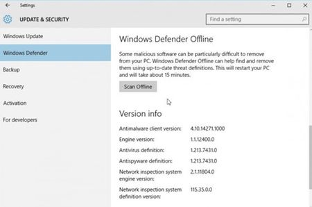 Kich hoat Windows Defender Offline trong Windows 10 - Anh 2