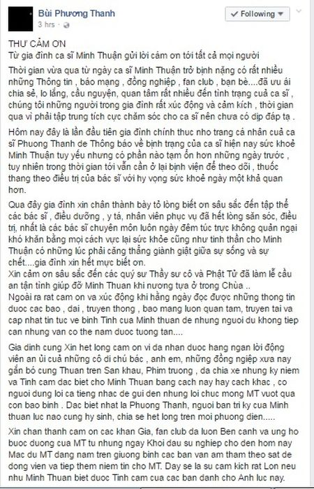 Gia dinh chinh thuc len tieng ve suc khoe cua Minh Thuan - Anh 1