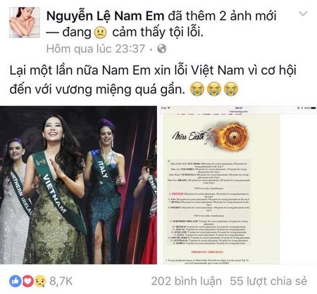 Truot top 4 tai Miss Earth, Nam Em tu trach minh khong gioi tieng anh - Anh 2