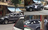 Ngoan cố đỗ xe ô tô trước cửa hàng nhà người khác và cái kết bị dán toàn băng vệ sinh