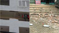 Hơn 2m tường gạch rơi từ tầng 7 chung cư xuống đất, người dân may mắn thoát chết