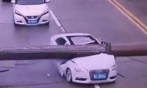 Cần trục đè bẹp đầu ô tô Audi, tài xế thoát chết thần kỳ
