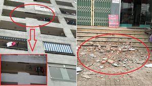 Bức tường của khu chung cư rơi từ tầng 7 xuống đất