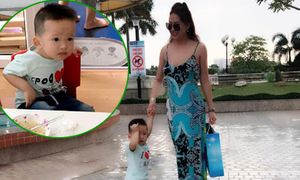 Phi Thanh Vân xúc động trong ngày đầu đưa con trai đi học
