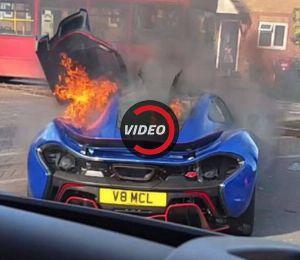 McLaren P1 'độc nhất vô nhị' tại Anh bốc cháy ngùn ngụt trên đường