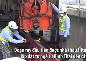 Đoạn ray đầu tiên tuyến metro Sài Gòn được lắp đặt