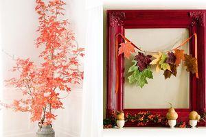 Tận dụng lá vàng mùa thu để làm đồ trang trí sinh động, lạ mắt