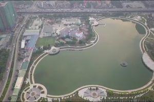 Công viên gần 300 tỷ đồng vừa đưa vào sử dụng ở Hà Nội nhìn từ flycam