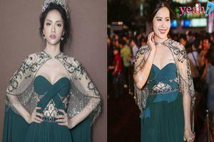 Nam Em lộ thân hình phát tướng trên thảm đỏ Hoa hậu Việt Nam 2018 khi đụng hàng váy áo với Hương Giang