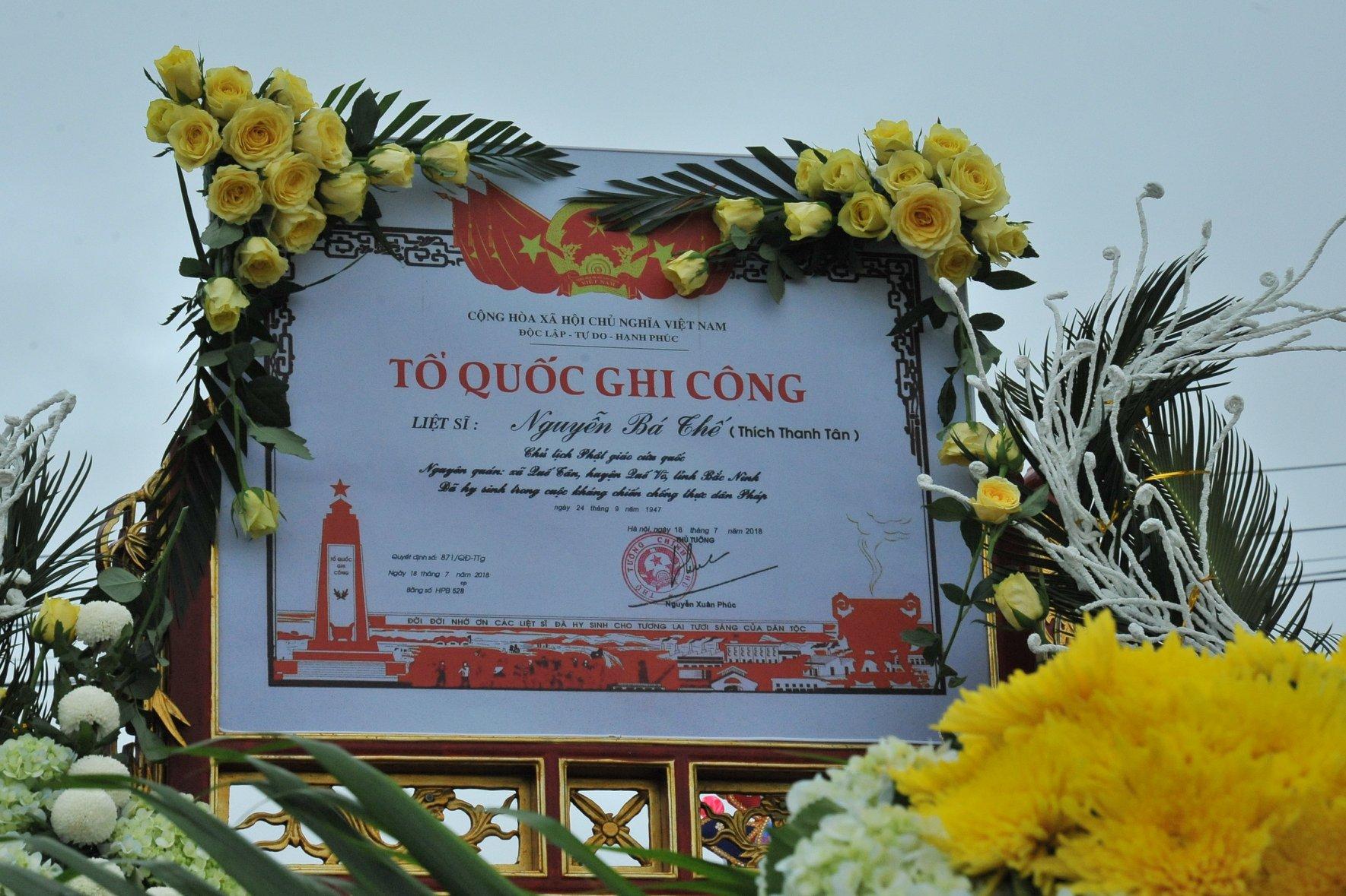 Bắc Giang: Tổ chức lễ rước hài cốt và truy điệu liệt sĩ Nguyễn Bá Thế - Giác Linh Thích Thanh Tân tại cahùa Vĩnh Nghiêm