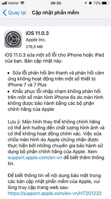 Apple tung ban cap nhat iOS 11.0.3 sua hang loat loi tren iPhone, iPad - Anh 1
